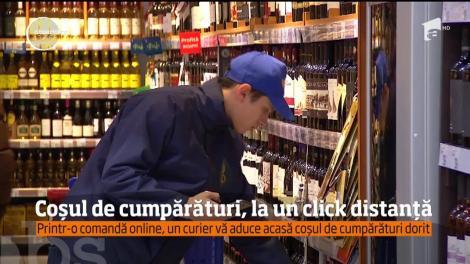 Coșul de cumpărături, la un click distanță. Printr-o comandă online, un curier vă aduce acasă cumpărăturile dorite