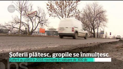 Şoferii au plătit în 2016 roviniete în valoare de un sfert de miliard de euro, gropile se înmulțesc