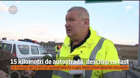 Un tronson de 15km din autostrada A1 Lugoj-Deva a fost deschis circulației