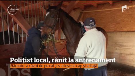 Un poliţist local a ajuns la spital cu lovituri serioase, după ce a căzut de pe cal