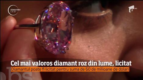 Cel mai valoros diamant roz din lume va fi scos la licitaţie