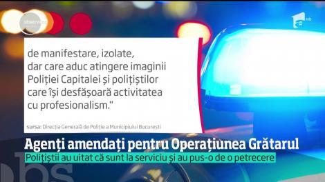 Tăieri salariale şi posibil concedierea pentru cei patru agenţi de poliţie care au încins grătarele în timpul programului
