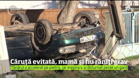 Accident rutier neobişnuit pe uliţa unui sat din judeţul Botoşani