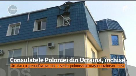 Polonia şi-a închis, temporar, toate consulatele de pe teritoriul Ucrainei, în urma unui atac cu grenada la unul dintre sediile acestora