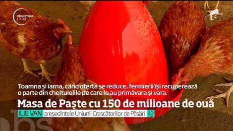 Masa de Paşte a românilor va depăşi 150 de milioane de ouă