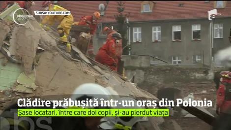 Clădire prăbușită într-un oraș din Polonia