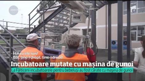 Imagini incredibile în Fălticeni. Incubatoarele maternităţii din oraş au fost mutate cu maşina de la salubritate