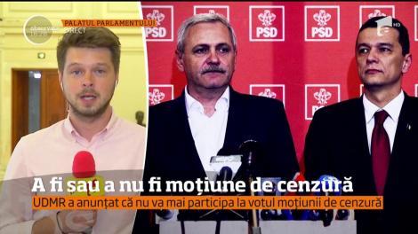 UDMR a anunţat că nu va participa la votul moţiunii de cenzură