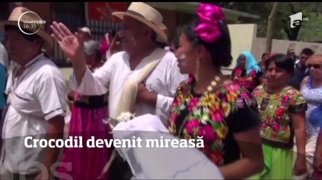 """Un primar din Mexic și un crocodil și-au unit destinele, într-o ceremonie cu fast. Cum a arătat """"mireasa"""", în ziua cea mare"""