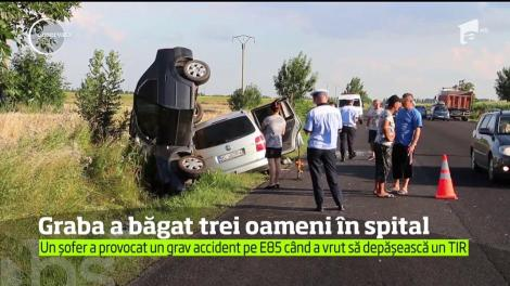 Un cetăţean chinez a provocat un grav accident de circulaţie pe E85. Trei oameni au ajuns la spital