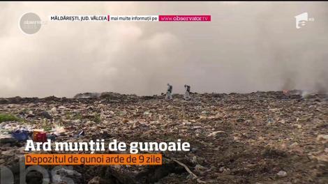 Starea de alertă s-a prelungit la Măldăreşti, lângă Horezu, unde arde groapa de gunoi!