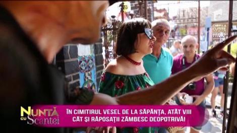 Ana Morodan ajunge la...Cimitirul Vesel din Săpânța! Și prezentatoarea trebuie să meargă încet, ca să nu trezească soacra din mormânt!