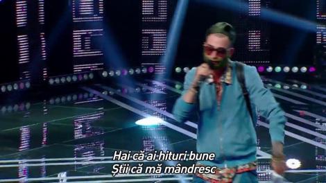 Improvizație și rime pe loc. Vezi aici cum cântă Andrei Codău pe scena X Factor!