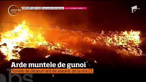 Incendiul de la groapa de gunoi de lângă Cluj-Napoca încă nu a fost stins, la 21 de ore de la primele flăcări