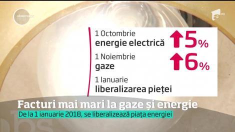 Facturi mai mari la gaze și energie, de la 1 ianuarie 2018