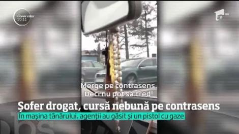 În Constanța, un tânăr drogat a plecat cu maşina la plimbare pe contrasens. I s-a făcut rău şi s-a oprit înainte să provoace o tragedie. Martorii i-au filmat cursa