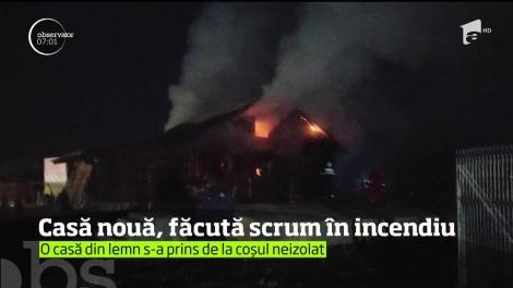 Casă nouă, din județul Neamț, făcută scrum în incendiu