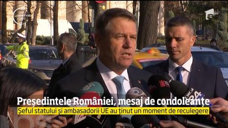 Președintele României, mesaj de condoleanțe. Șeful statului și ambasadorii UE au ținut un moment de reculegere