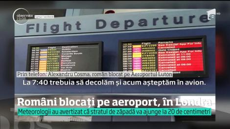 Ninsoarea a transformat în coşmar călătoria a zeci de români în Marea Britanie. Mai bine de 12 ore, au stat blocaţi pe un aeroport din Londra