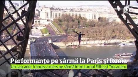 Performanţă inedită la Paris. Pentru prima dată, distanţa dintre turnul Eiffel şi palatul Trocadero a fost parcursă