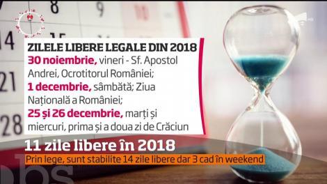 11 zile libere în 2018