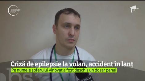 Un şofer care a suferit o criză de epilepsie a provocat un accident în lanţ în centrul oraşului Suceava!