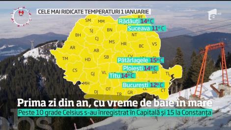 2018 a bătut deja orice record de temperaturi. În prima zi din an, un curajos a făcut şi prima baie în mare!