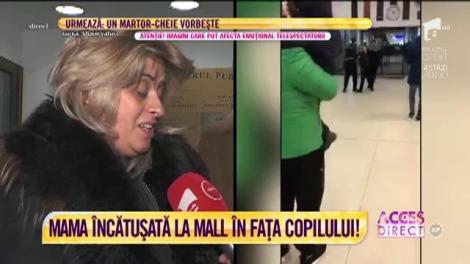 Un copil, martor la încătușarea propriei mame, într-un mall din Capitală