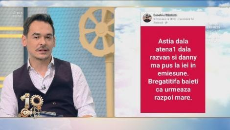 """Răzvan şi Dani amenintați pe Facebook de un agramat!: """"Astia dala atena1 dala razvan si danny ma pus la iei in emiesune. Bregatitifa baieti ca urmeaza razpoi mare"""""""