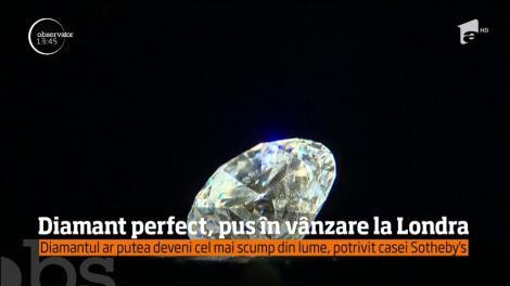Diamant alb, perfect, de mărimea unei căpşuni, pus la vânzare la Londra