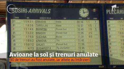 Viscolul a dat peste cap traficul feroviar, dar şi aerian! 120 de români sunt blocaţi de ieri pe Aeroportul din Roma