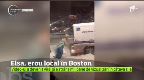 Elsa, erou local Boston. A ajutat o maşină de poliţie, blocată în zăpadă, să îşi continue drumul