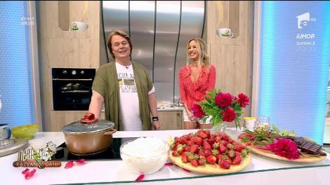 """""""Chiquitita"""" e propunerea lui Vlăduț pentru weekend! Un desert din bezele, căpșuni și ciocolată amară"""