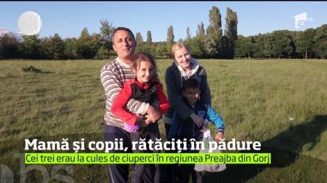 Culesul de ciuperci s-a transformat într-o aventură riscantă pentru o mamă şi copiii ei, un băiat de 8 ani şi o fată de 7