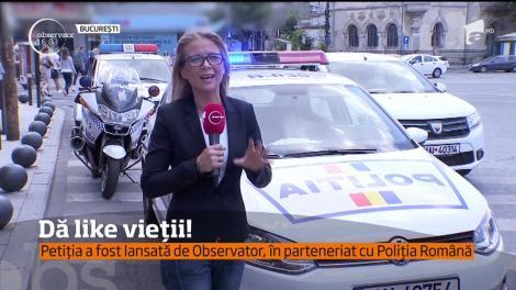 Petiţia lansată de Observator în parteneriat cu Poliţia Română, pentru ca orice live de la volan să fie raportat, a depăşit 10 mii de semnături