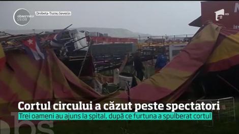 Furtunile violente au făcut ravagii în ţară! Trei oameni au ajuns la spital, după ce un cort de circ s-a prăbuşit peste ei, în Drobeta Turnu Severin