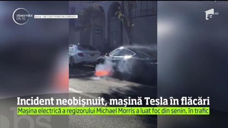 O actriţă din Statele Unite a postat pe reţelele sociale imagini cu incendiul care a cuprins maşina soţului său, o Tesla cu motor electric