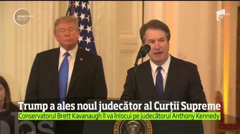 Preşedintele Donald Trump l-a nominalizat pe conservatorul Brett Kavanaugh, pentru funcţia de judecător al Curţii Supreme