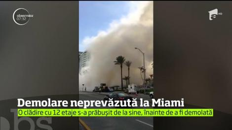 Surpriză de proporţii la propriu! O clădire cu 12 etaje din Miami s-a prăbuşit pe neaşteptate, cu câteva zile înainte să fie demolată
