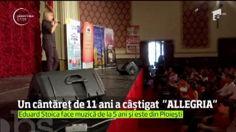 """La 11 ani, un copil extrem de talentat din Ploieşti a impresionat pe toată lumea şi a câştigat a cincea ediţie a Concursului """"ALLEGRIA"""""""