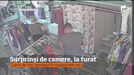 Patronii magazinelor de îmbrăcăminte din Galaţi sunt în stare de alertă din cauza unui cuplu de hoţi