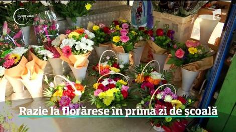 Prima zi de şcoală e bucuria florăreselor şi a ANAF-ului. La colţ de stradă, florile s-au vândut în număr record, fără bon fiscal, aşa că s-au tăiat şi amenzile