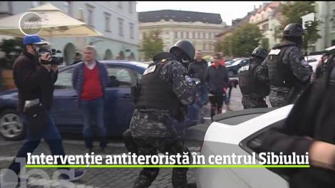 Ameninţare teroristă în centrul Sibiului. Asta a fost misiunea care a mobilizat trupele speciale să intervină cu două elicoptere şi zeci de luptători