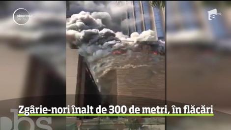 Incendiu puternic la un zgârie-nori în construcţie din Kuweit