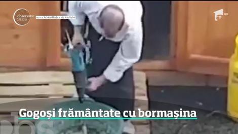 REVOLTĂTOR! Se întâmplă în România! Aluat pentru gogoși de vânzare, frământat cu bormaşina, într-un vas aşezat printre gunoaie - VIDEO