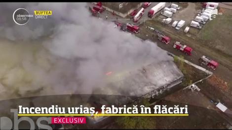 Incendiu uriaș lângă Bucureşti, în Buftea! Una dintre cele mai mari fabrici de prelucrare a cărnii din ţară a luat foc - VIDEO