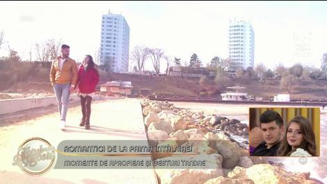 Romantici de la prima întâlnire! Cristina şi Bogdan, plimbare pe malul mării