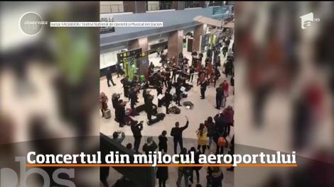 """Surpriză cu muzică clasică și vals la aeroportul """"Henri Coandă""""! Cum au reacționat trecătorii - VIDEO"""