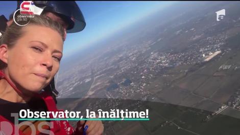 """25 de ani de Antena 1: Observator, la înălțime! Reporterul Sonia Simionov a sărit cu parașuta, de la patru mii de metri altitudine: """"La muulți ani!"""""""