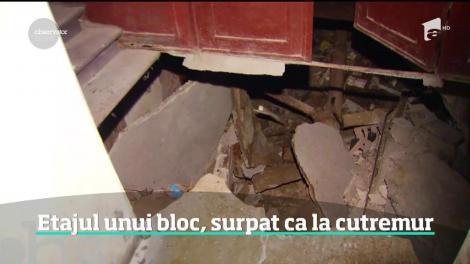 Etajul unui bloc din centrul Capitalei s-a prăbuşit din senin. Deşi e vechi de 130 de ani, blocul periculos n-a fost consolidat